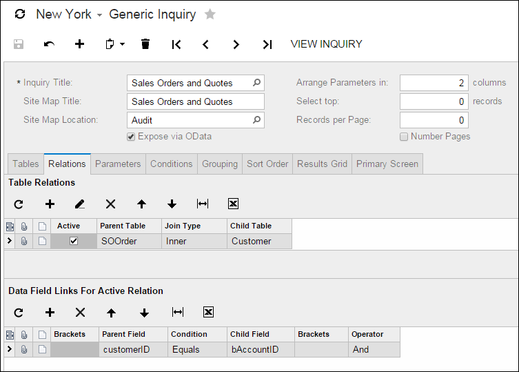 Acumatica Generic Inquiry Screen