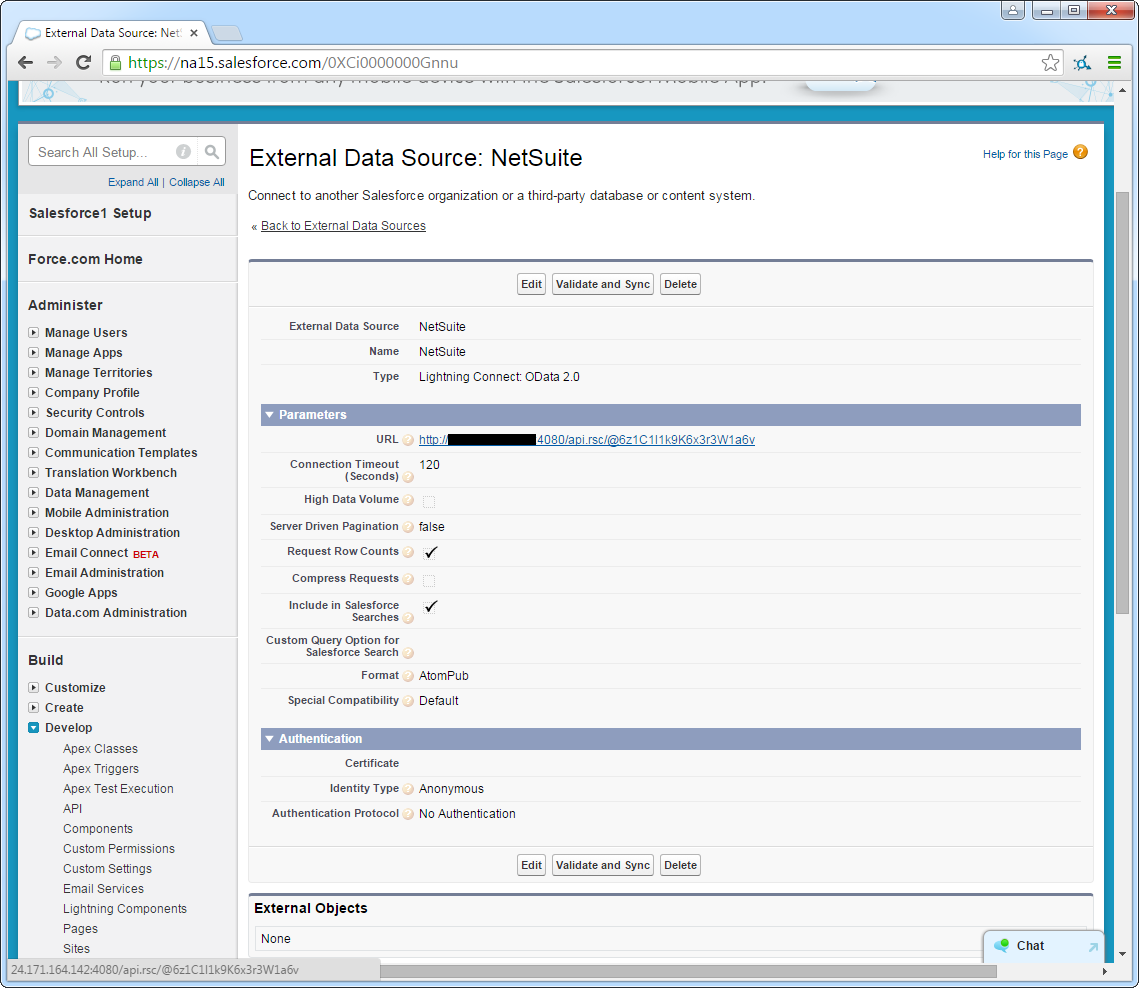 Salesforce External OData source configuration