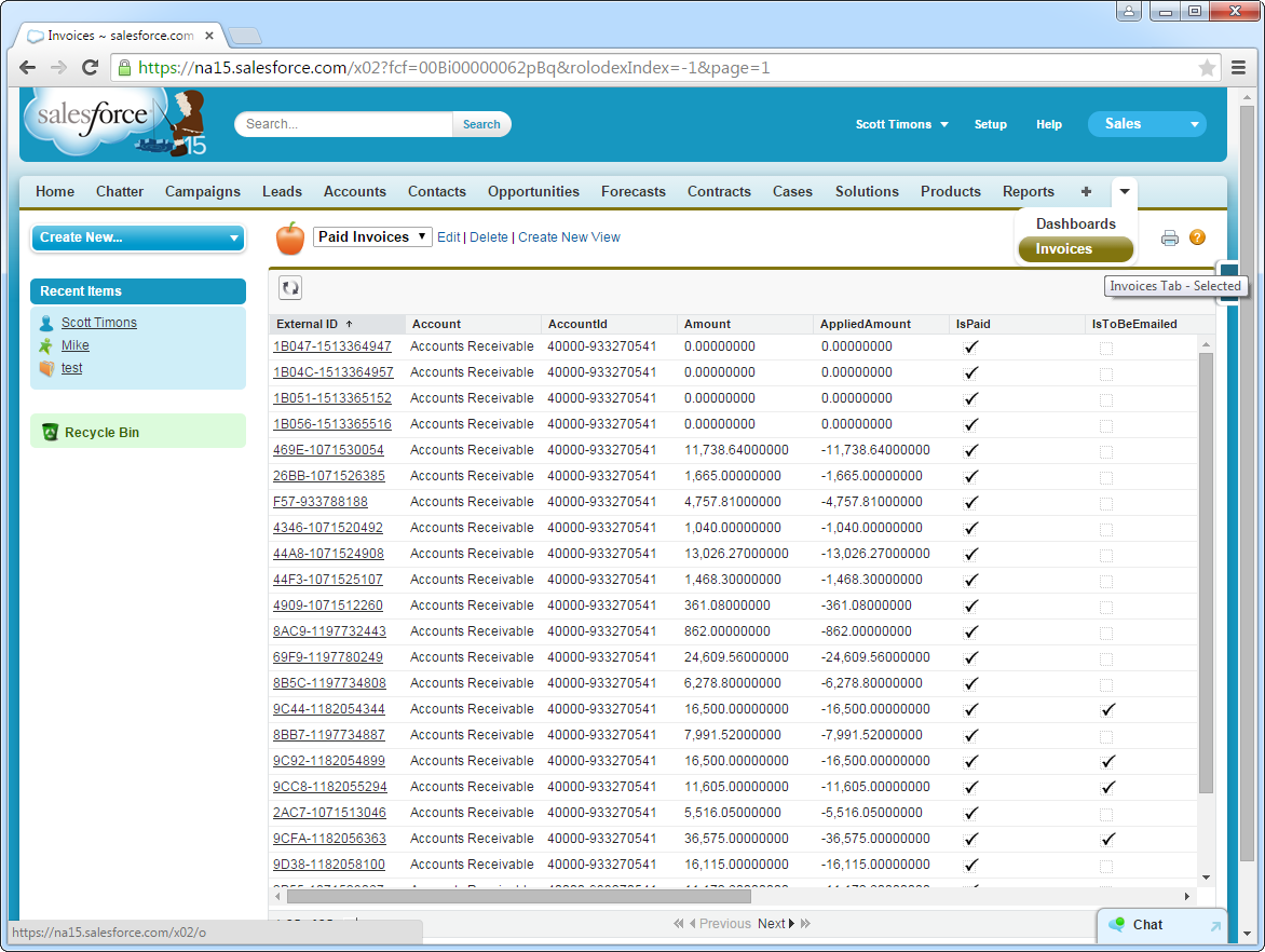 Invoices in Salesforce